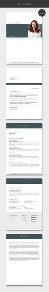 """Nuestra plantilla de aplicación (plantilla cv) """"Business Lite"""" en color Solid Green ….   – Bewerbung"""