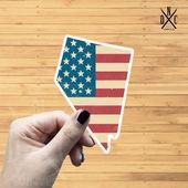 Nevada American Flag State Outline Vinyl Sticker, Travel, Laptop Decals, Stickers, Macbook Decal, St
