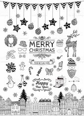 Set of Black and White Hand Drawn Outlined Christmas Doodle Icons ….