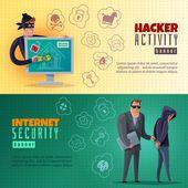 Hacker cartoon horizontal banners | Free Vector #Freepik #freevector #technology #computer #cartoon
