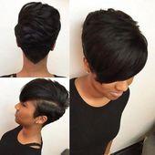 Kurzes Haar der schwarzen Frauenfrisuren #rihanna #locken #undercutfrisuren #rot #undercutfrauen