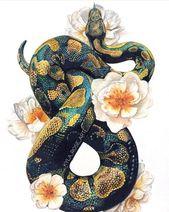 Kugelpython und Rosendruck Dieses ist ein Druck meiner ursprünglichen Farbbleistiftzeichnung…
