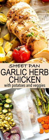 Sheet Pan Garlic Herb Chicken Breasts with Potatoes & Veggies  – This sheet pan …