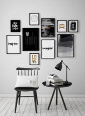 Zwart-witte kunst wordt afgedrukt, Set van 10 foto's, poster, set van 10 art prints, minimalistische affiches, ArtFilesVicky