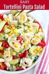 Tortellini Pasta Salad – A summery pasta salad filled with cheese tortellini, co…