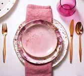Dessertteller aus Rosé- und Gold-Splatter-Porzellan