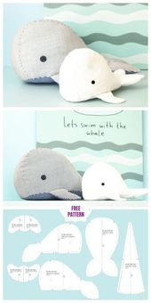 DIY Fabric Whale Plush Free Schnittmuster – Mini-Größe