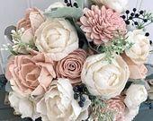 Sola Blumenstrauß, Pflaume Sola Holzblume Hochzeitsstrauß, erröten rosa und tiefe Pflaume, Pfingstrose Hochzeitsstrauß, Andenken, lila Ecoflowers   – Wedding