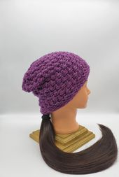 Womens mens fall and winter knit hat ski style hat purple beanie hipster grunge fashion winter cap unisex knit hat slouchy beanie – Hand made knit hats