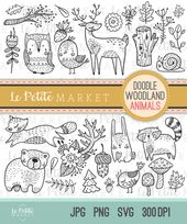 Clipart créature des bois Doodle mignon, la forêt Clipart Animal, timbres numériques Woodland, oiseau hibou cerf ours raton laveur Fox Clip Artwork