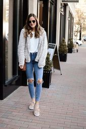 Shop the Look Below.  Thread & Supply Jacket  |  Steve Madden Sneakers  |  Ray-Ban Sunglasses  |  Madewell Tote #WomensFashionEdgy