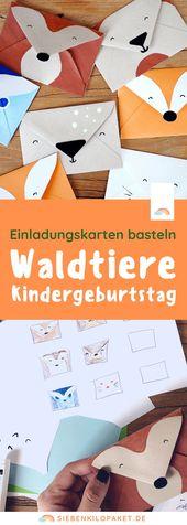 Baby Cards Einladungskarte Kindergeburtstag basteln: Waldtiere - Der Blog für Regenbogenfa...