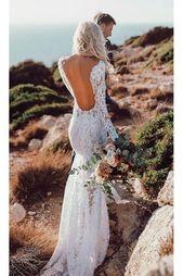 Se igenom V-hals spetsar Rustika bröllopsklänningar Långärmad sjöjungfru brudklänning