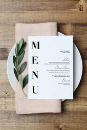 Wedding Menu Template, Modern Menu cards Template, Minimal menu Template, Weddin… – HOCHZEIT | Einladungen, Tischkarten, Stationery & Papeterie
