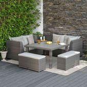 8-Sitzer-Lounge-Set Headley aus Polyrattan mit Polsterung Garden Living   – Products