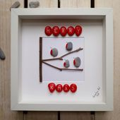 Photo of Robins Kieselgeschenk, Weihnachtsbild, Weihnachtsdekoration, Kieselkunstdekor, gerahmtes Weihnachtsgeschenk,