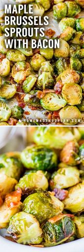 Maple Bacon Brussels Sprouts! Oven-roasted Brussels sprouts flavored with crispy…