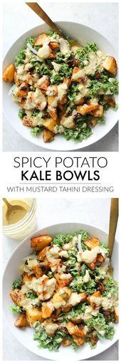 Tigelas de couve picante com molho de mostarda e tahine   – Essen