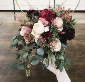 25 + › Braut braut brautstrauß blumen eukalyptus rosen weiß erröten burgund… – Nicky
