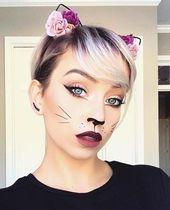 Nettes und einfaches Katzen Make-up für Halloween