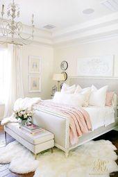 Glam Blush + Gold Spring Bedroom  #bedroom #blush #homedecorationideas #spring