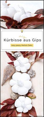 DIY Herbstdekoration: Kürbisse aus Gips   – DIY: Basteln & Selbermachen