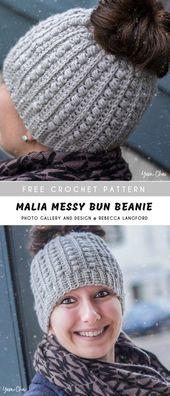 Messy Bun Crochet Beanies