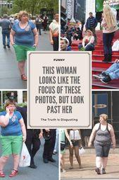 Diese Frau sieht aus wie der Fokus dieser Fotos, aber schaut an ihr vorbei. Die Wahrheit ist widerlich.