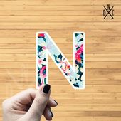 "Letter ""N"" Tropical Vinyl Sticker, Best Friend Gift, Laptop Decals, Name Stickers, Monogram, Macbook"