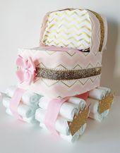 Baby Girl Windel Kinderwagen, Windel Stubenwagen, Pink und Gold Baby Shower Herzstück, Prinzessin Windel Kuchen, es ist ein Mädchen Baby Shower Decor   – 2Diaper Cakes