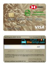 United Kingdom Hsbc Visa Gold Credit Card Template In Psd Format Fully Editable Gold Credit Card Credit Card Templates