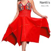 Mexico Handmade TM-77321 Vestido Bordado tipo Halter Mexican Embroidered Women Dress Nantlis Tradicion de Mexico