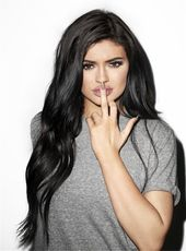 Kylie Jenner Lengthy Wavy Lace Entrance Cap Artificial Hair Wig 22 Inches