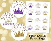 Printable Little Princess Crowns Round Tags Purple and Gold Glitter Confetti Birthday Instant Digital Download Labels Stickers or Tags