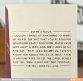 This what I'm writing in all my cards from now on
