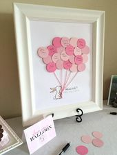 Pink Bunny Balloon Guest Book – Baby showers