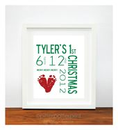 Baby's First Christmas Gift Decoration, Personalized Footprint Tree Art Print, Red Green Holiday Decor, Your Child's Feet, 8×10 in UNFRAMED  – Myself