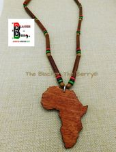Africa Handmade African Necklaces Jewelry Handmade RBG Beaded Motherland Gift Ideas Unisex Adult Teen Africa Shape