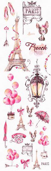 Französisch Paris. Aquarell Clipart, Schuhe, Mode, Bulldogge, Eiffelturm, Frankreich, Ballons, Pfeil, Bogen, Geschenk, Glam, Aufkleber, romantisch, diy