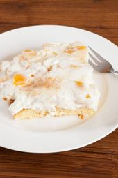 Juicy peach sour cream cake from the tray