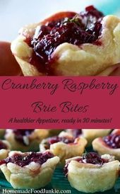 Cranberry Raspberry Brie Bites are easy to make and delight Holiday party guests…