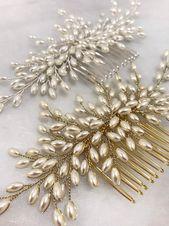Pearl hair comb, Bridal pearls headpiece, Wedding hair accessory, Wedding gold headpiece Vintage style headpiece