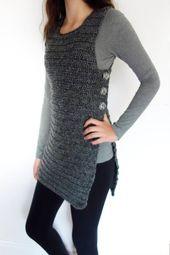 Tunika häkeln Muster – Seite geknöpfte Weste / gerippte Achselzucken / rustikale Schultern Coverup / ärmellose lange Pullover