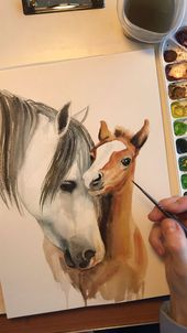 Mother & baby horse watercolor time lapse video   – kunst