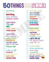 50 Things to do this Summer List 8×10 Instant Download – Lots of Summer fun Ideas to do