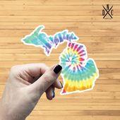 Michigan Tie Dye State Outline Vinyl Sticker, Travel, Laptop Decals, Stickers, Macbook Decal, Sticke