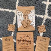 Vintage Wedding Invitation Template, Rustic Wedding invitation Set, Printable Wedding Invitation, Kraft Invitation Set, Editable Text, VW01 – Undangan pernikahan