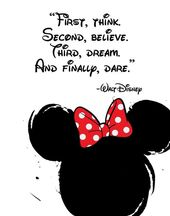 "Disney Quote Poster, Digital Download, Children's Decor, Printable Wall Art, Mickey Mouse, Prints,""First, think. Second, believe. Third, dre"