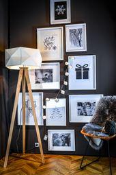 Stehlampe Polygon – Weißer Schirm mit Holzfüßen