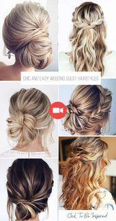 36 chic and easy wedding guest hairstyles – #easy styles #invite #m … – frisuren Hochzeit